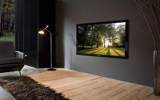 Обои Плазменный телевизор на стене в гостинной