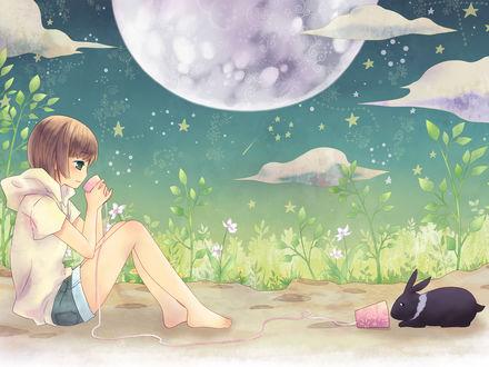 Обои Девочка общается с черным кроликом через розовые стаканы соединенные веревкой