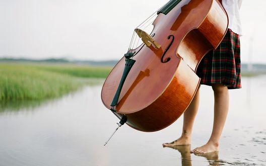 Обои Девушка с виолончелью стоит в воде
