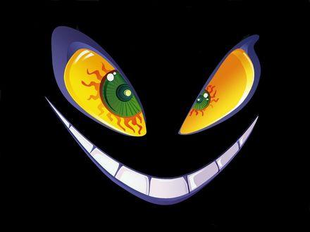 Обои Смайлик со зловещей улыбкой на черном фоне