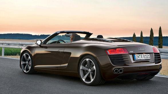 Обои Кабриолет Audi R8 V12, коричневого цвета