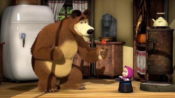 Обои Мишка дарит Маше конфету