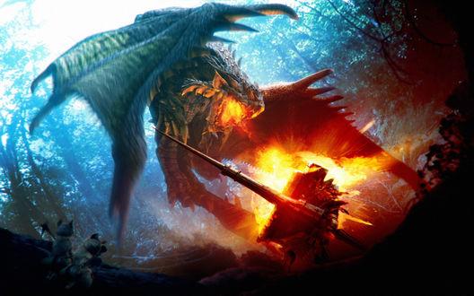 Обои Воин борется с драконом