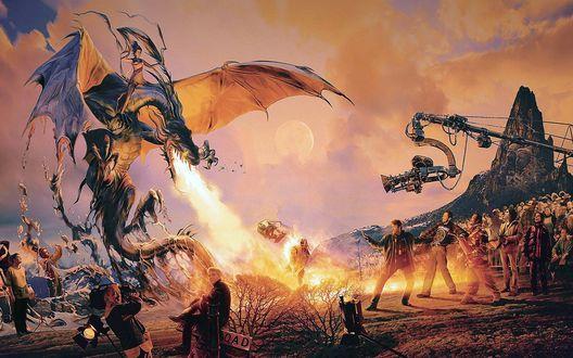 Обои Съемки фильма о драконах, дракон с оседлавшей его девушкой сжег осветителя