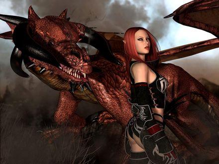 Обои Дракон и девушка в доспехах