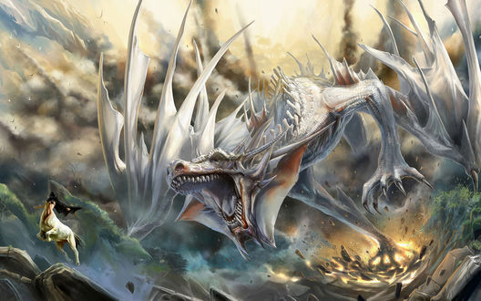Обои Дракон в погоне за девушкой-кентавром