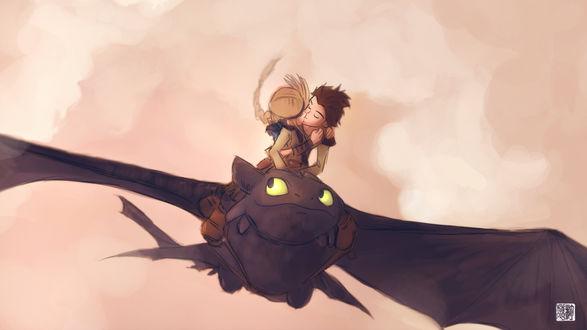 Обои Иккинг и Астрид целуются верхом на Беззубике черновой кадр из мультфильма «Как приручить дракона»