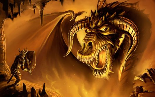 Обои Битва воина с драконом