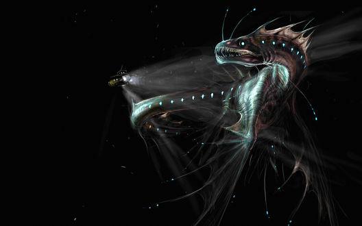 Обои Подводный батискаф освещает дракона