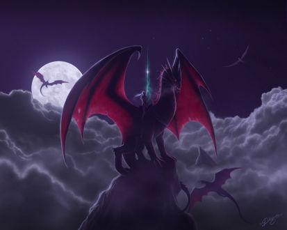 Обои Дракон с всадником на скале