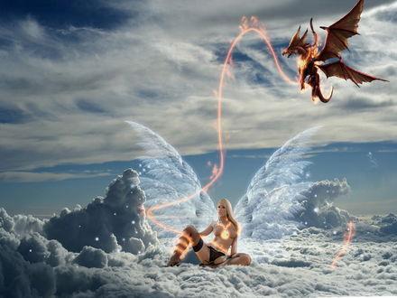Обои Девушка связанная с драконом