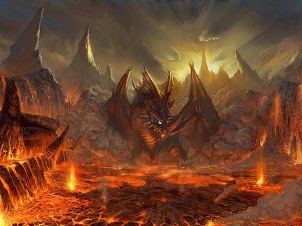 Обои Дракон живущий в лаве
