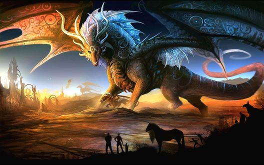 Обои Люди с детьми смотрят на идущих по облакам и горам драконов