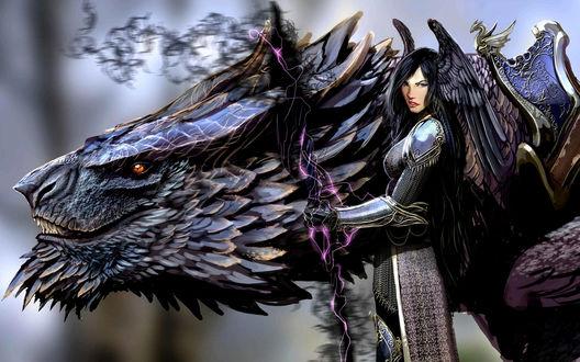 Обои Девушка-воин с магическим копьем рядом с оседланным драконом