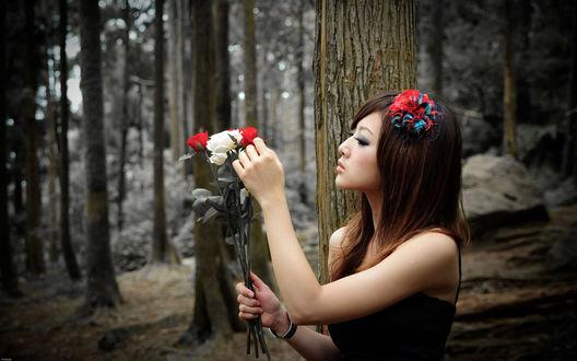 Обои Девушка в лесу с розами
