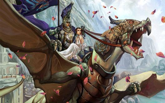 Обои Воин с девушкой верхом на драконе