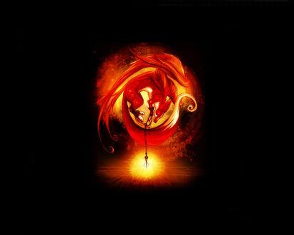 Обои Крылатый огненный лис с лапами связанными амулетом со светящимся огненным шаром на хвосте