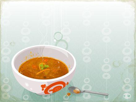 Обои Горячий суп в миске