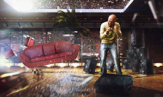 Обои У Гоши Куценко дома очень мощная аудио техника, он поет так, что лопаются стекла и звуковыми волнами сносит мебель (Fiero Animals)