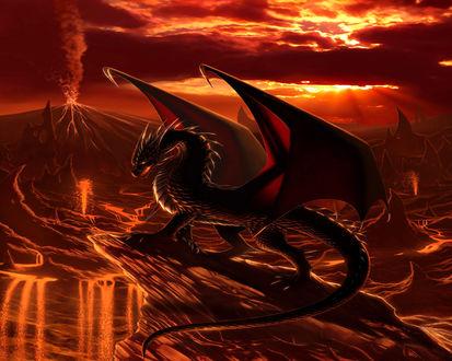Обои Дракон около извергающегося вулкана