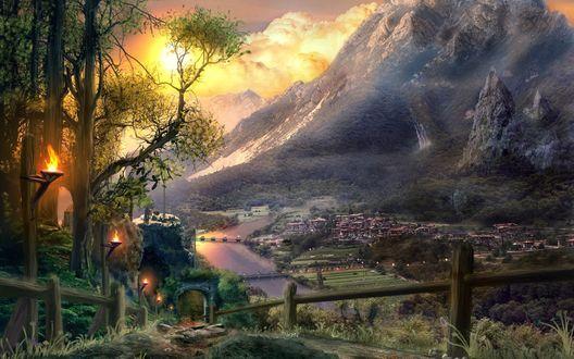 Обои Город у подножья величественных гор