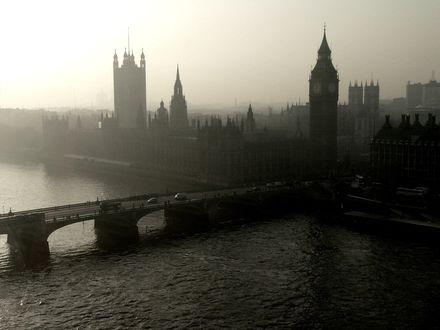 Обои Черно-белая фотография лондона, вид на Биг-бен