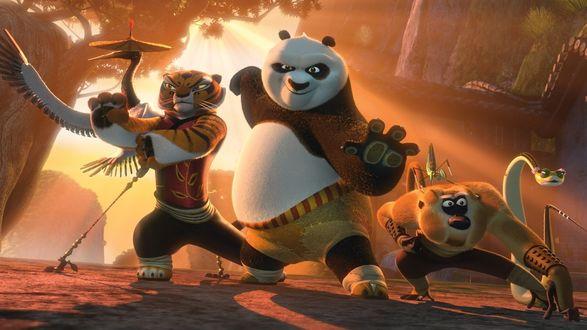 Обои Персонажи мультфильма «Кунг-фу панда 2» / «Kung fu panda 2»: неистовая пятёрка, журавль, тигрица, обезьяна, богомол, змея на закате