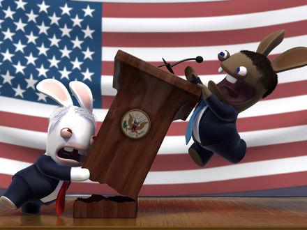 Обои Американские президенты дерутся за место, игра Rayman Raving Rabbids