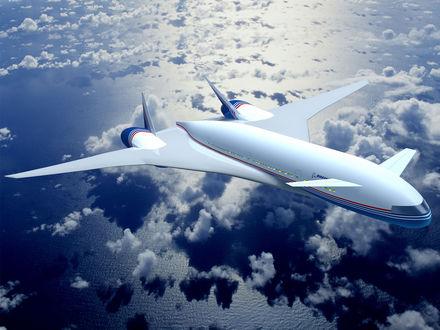 Обои Концепт самолета будущего летящего над облаками