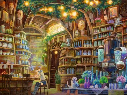 Обои Девушка что то пьет из белой кружки в большой лаборатории или посудной лавке или библиотеке, рядом с ней летает фиолетовый дракон с колбой