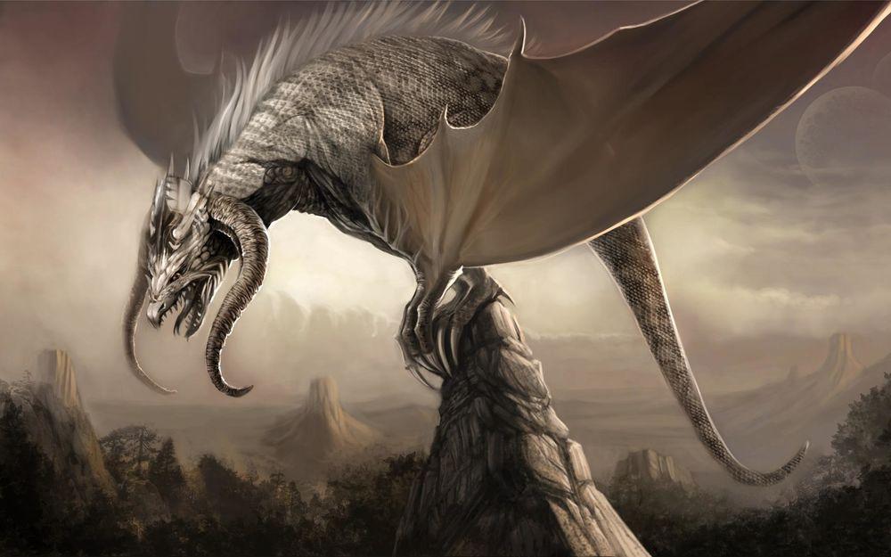 Обои для рабочего стола Огромный дракон на скале