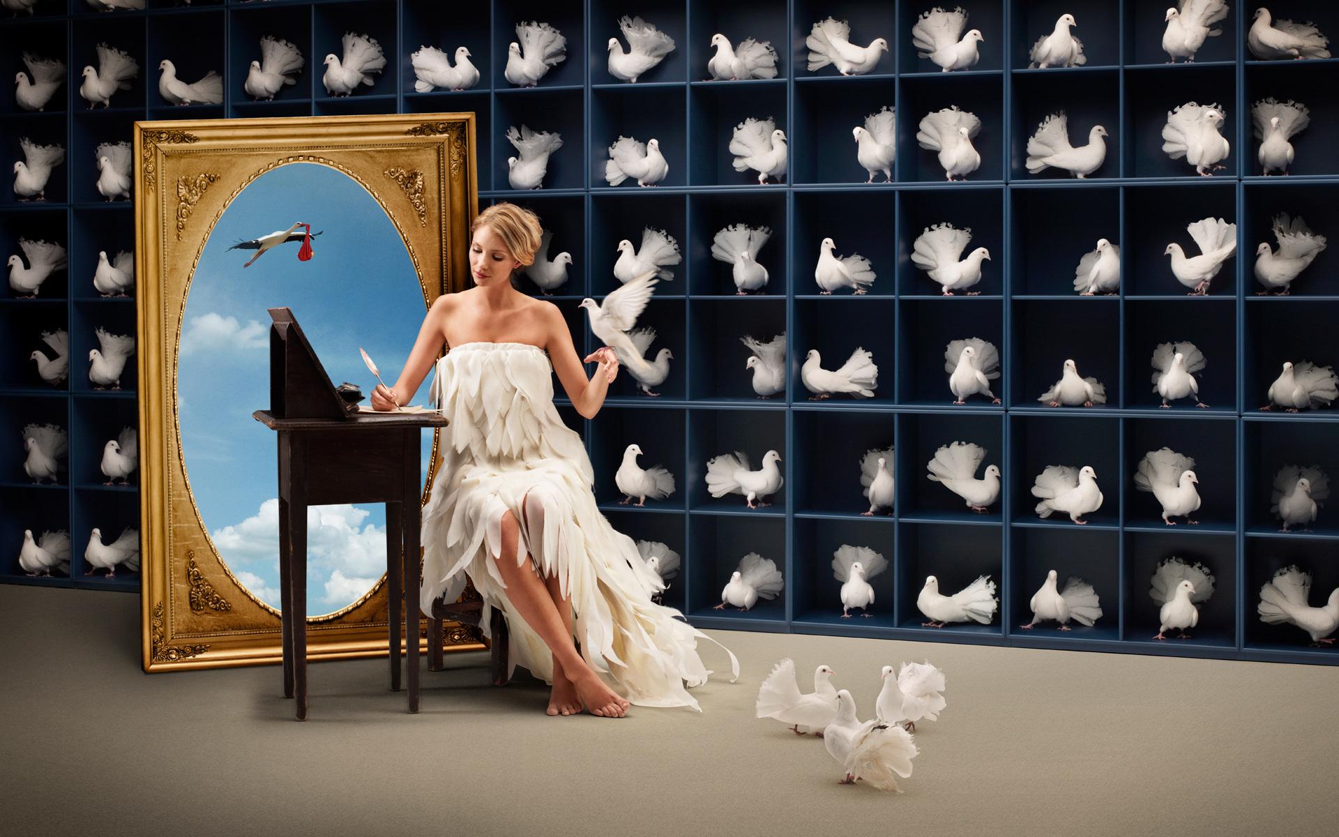 3d Lady Bird wallpaper envoyer des pigeons voyageurs avec des messages, dans une magie de cigogne miroir Aiden portant un bébé à l'intérieur de quelqu'un wallpaper