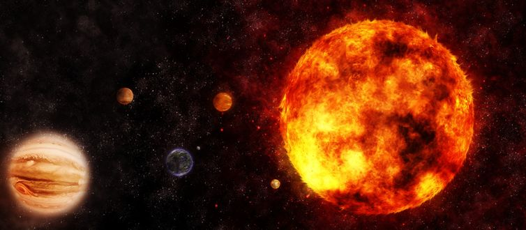Обои Огненная планета на фоне других планет