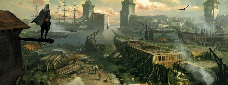 Обои Иллюстрация для игры «Assassins Creed: Revelations» картина с изображением судостроительной верфи