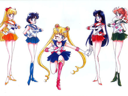Обои Сейлор Венера, Сейлор Меркури, Сейлор Мун, Сейлор Марс, Сейлор Юпитер, манга 'Сейлор Мун'