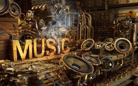 Обои Надпись Music / Музыка среди динамиков, и потушеный сигаретный окурок