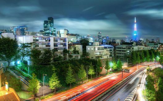 Обои Ночной Токио