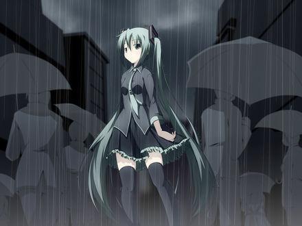 Обои Вокалоид Мику Хатсуне под дождём в людском потоке