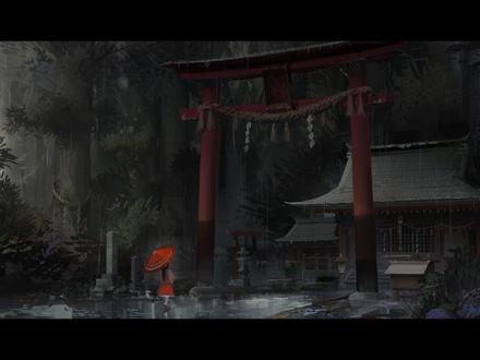 Обои Hakurei Reimu стоит с красным зонтом под проливным дождем возле храма из игры Touhou