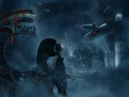 Обои Девушка-ангел смотрит на дождливое небо, по которому плывут дирижабли в сторону ночного города