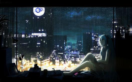 Обои Вокалоид Мику Хатсуне сидит у окна во время дождя ночью