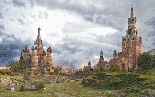Обои Дождь над Москвой, над красной площадью после технологического коллапса, пасутся лошади
