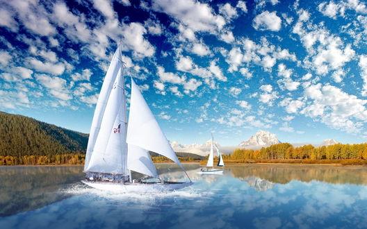 Обои Парусники в горном озере