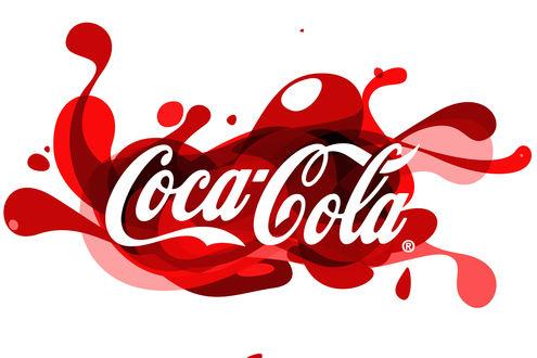 Обои Нарисованный логотим Coca cola / Кока кола