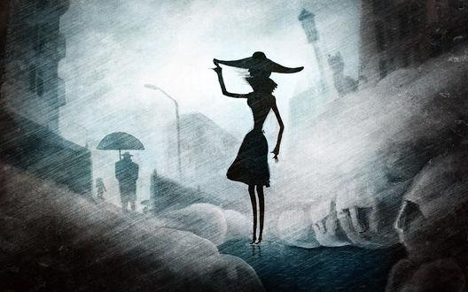 Обои Девушка в широкополой шляпе стоит в луже между огромных кошачих лап. Сквозь плотные струи дождя угадывается силуэт мужчины с зонтом и какое-то животное, похожее на кошку