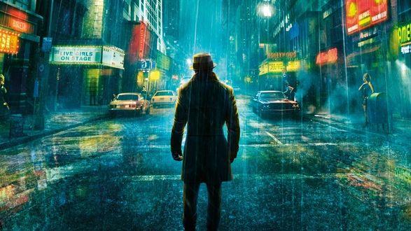 Обои Из фильма 'Хранители' - Мужчина стоит, не чувствуя дождя,  посреди улицы с яркими рекламами, с тротуара на него призывно смотрит уличная проститутка
