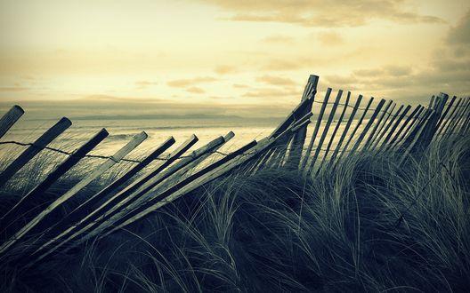 Обои Покосившийся деревянный забор у моря