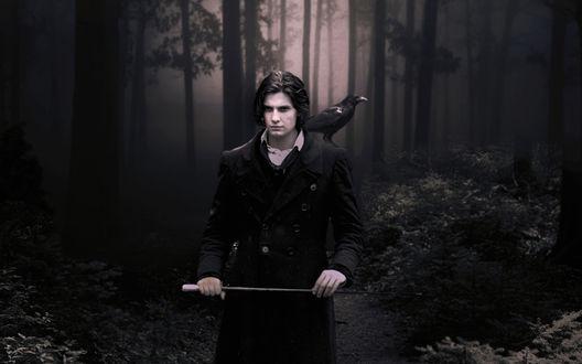 Обои Мрачный мужчина с вороном на плече в лесу
