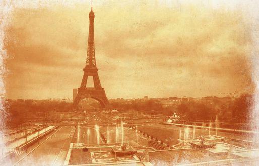 Обои Эйфелева башня, Париж, Франция в винтажной обработке