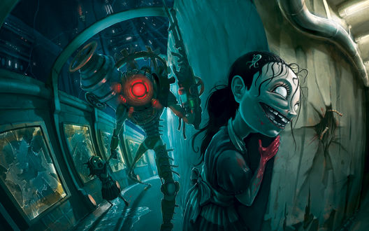 Обои Video Game - Bioshock, Злой робот охотится на девочек
